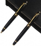 BALLPOINT PEN AND ROLLER PEN WITH GOLD PARTS