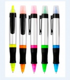 PLASTIC BALL PEN WITH HIGHLIGHTER