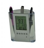 LCD clock with penholder