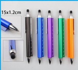 ballpoint pen with ruler and stylus